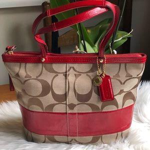 Coach Signature Stripe Patent Tote Bag